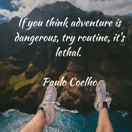 If you think adventure is dangerous, try routine, it's lethal. Paulo Cohelo